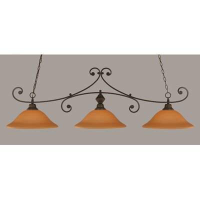 Babin 3-Light Billiard Light Color: Dark Granite, Shade Color: Cayenne