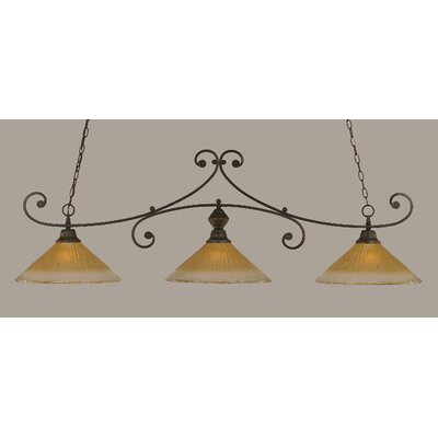 Babin 3-Light Billiard Light Color: Dark Granite, Shade Color: Amber