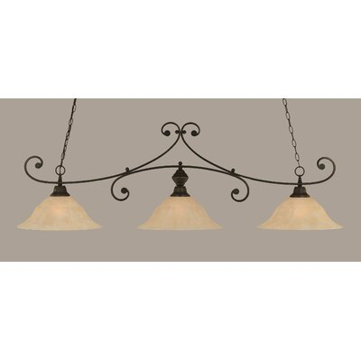 Babin 3-Light Billiard Light Color: Dark Granite, Shade Color: Amber