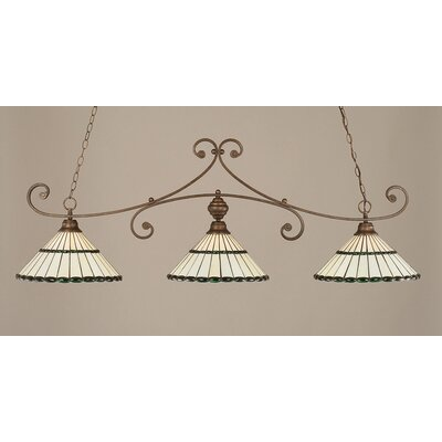 Copeland 3-Light Billiard Light Shade Color: Honey and Green, Finish: Bronze