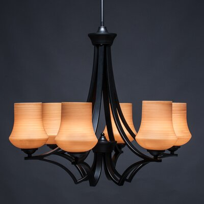 Zilo 6-Light Shaded Chandelier Shade Color: Cayenne, Finish: Matte Black