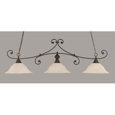 Babin 3-Light Billiard Light Shade Color: White, Finish: Dark Granite