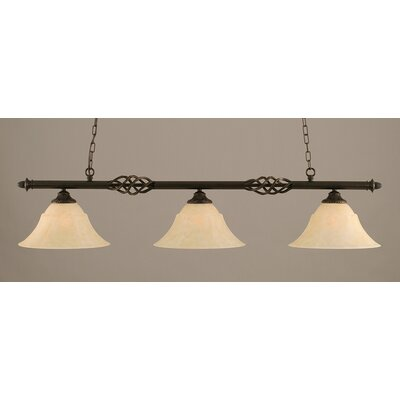 Elegante 3-Light Billiard Light Shade Color: Amber, Size: 10.5 H x 56 W