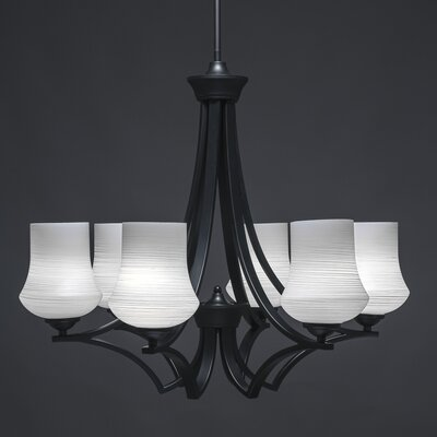 Zilo 6-Light Shaded Chandelier Finish: Matte Black, Shade Color: White