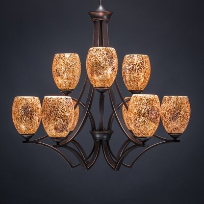 Zilo 9-Light Shaded Chandelier Shade Color: Gold