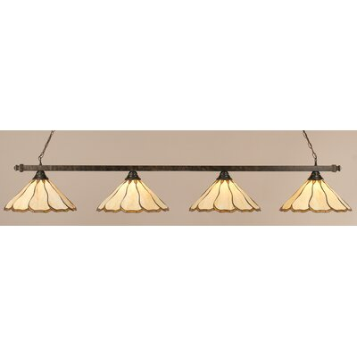 4-Light Pool Table Light Shade Color: Honey and Hunter Green