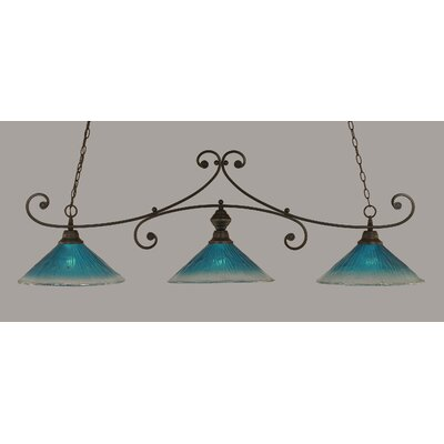 Babin 3-Light Billiard Light Finish: Dark Granite, Shade Color: Teal