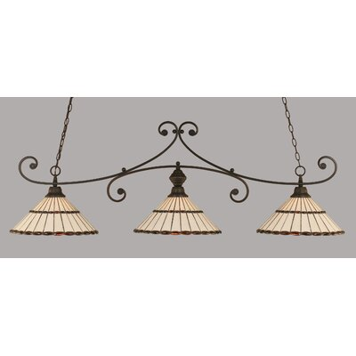 Copeland 3-Light Billiard Light Finish: Dark Granite, Shade Color: Honey and Amber Brown