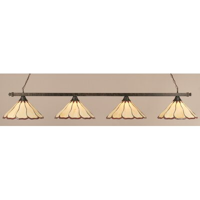 4-Light Pool Table Light Shade Color: Honey and Burgundy