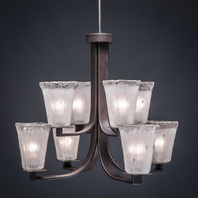 Blau 8-Light Dark Granite Shaded Chandelier Shade Color: Frosted