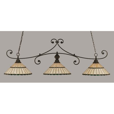 Copeland 3-Light Billiard Light Shade Color: Honey and Green, Finish: Dark Granite