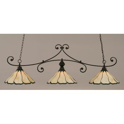 Marylin 3-Light Billiard Light Finish: Matte Black, Shade Color: Honey and Hunter Green