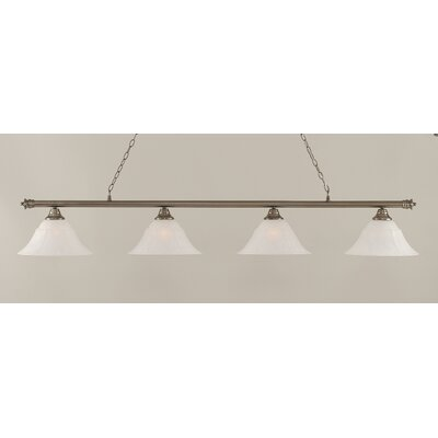 Oxford 4-Light Billiard Light Size: 12 H x 74 W, Shade Color: White, Finish: Brushed Nickel