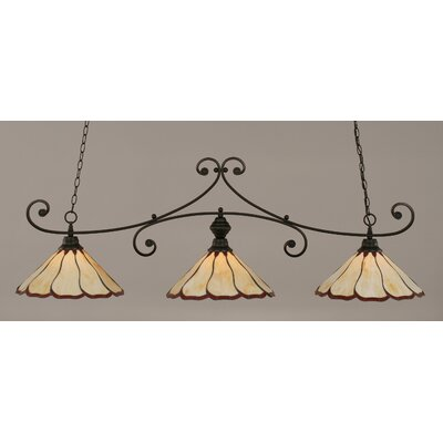 Marylin 3-Light Billiard Light Finish: Matte Black, Shade Color: Honey and Burgundy