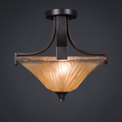 Blau 2-Light Semi Flush Mount Shade Color: Amber