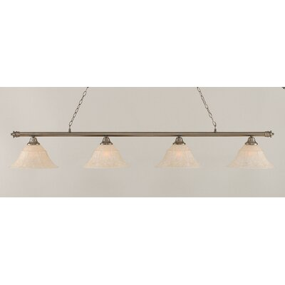 Passabe 4-Light Bell Shade Billiard Light Finish: Brushed Nickel, Size: 12 H x 74 W