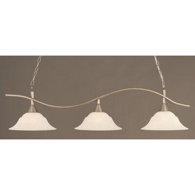 Swoop 3-Light Kitchen Island Pendant Shade Color: White, Finish: Brushed Nickel