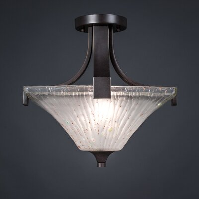 Blau 2-Light Semi Flush Mount Shade Color: Frosted