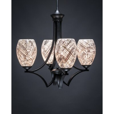 Zilo 4-Light Shaded Chandelier Shade Color: Natural, Finish: Matte Black