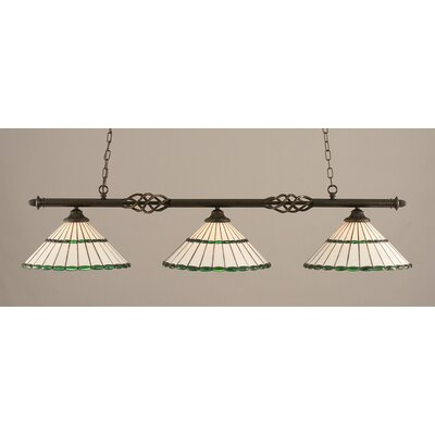 Elegante 3-Light Billiard Light Shade Color: Honey and Green