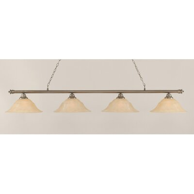 Oxford 4-Light Billiard Light Finish: Brushed Nickel, Shade Color: Amber, Size: 11.25 H x 75.75 W