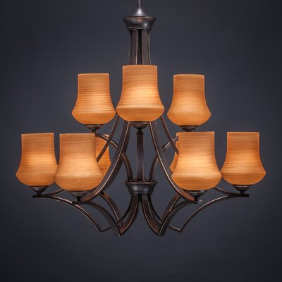 Zilo 9-Light Shaded Chandelier Finish: Dark Granite, Shade Color: Cayenne