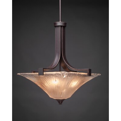 Blau 3-Light Inverted Pendant Shade Color: Amber