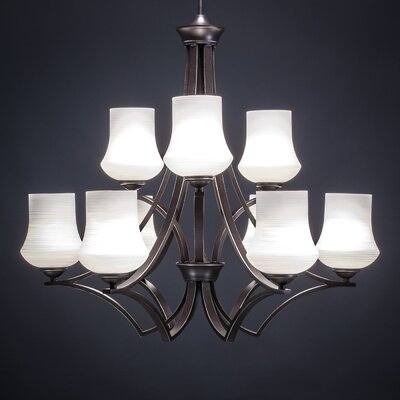 Zilo 9-Light Shaded Chandelier Finish: Dark Granite, Shade Color: White