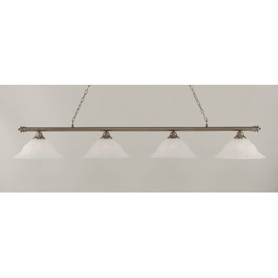 Oxford 4-Light Billiard Light Shade Color: White, Size: 11.25 H x 75.75 W, Finish: Brushed Nickel
