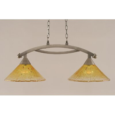 Bow 2-Light Kitchen Island Pendant Finish: Brushed Nickel, Shade Color: Gold Champagne