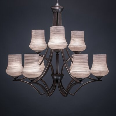 Zilo 9-Light Shaded Chandelier Finish: Dark Granite, Shade Color: Gray