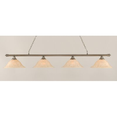 Oxford 4-Light Billiard Light Size: 11.25 H x 75.75 W, Finish: Brushed Nickel