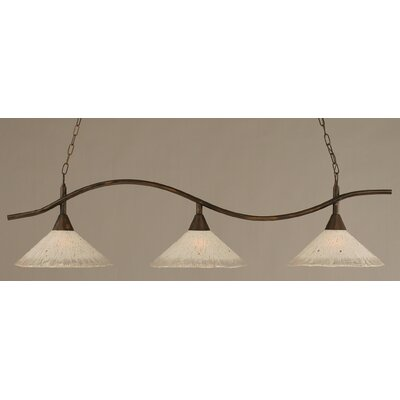 Swoop 3-Light Kitchen Island Pendant Finish: Bronze, Shade Color: Teal