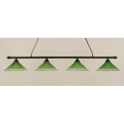 Oxford 4-Light Billiard Light Finish: Bronze, Shade Color: Kiwi Green