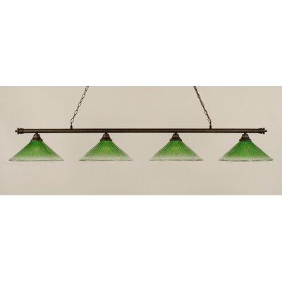 Oxford 4-Light Billiard Light Shade Color: Kiwi Green, Finish: Bronze