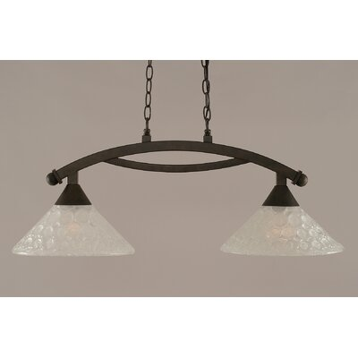 Eisenhauer 2-Light Glass Shade Kitchen Island Pendant Finish: Bronze
