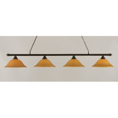 Passabe 4-Light Glass Shade Billiard Light Finish: Dark Granite, Shade Color: Cayenne