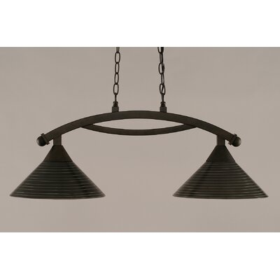 Bow 2-Light Kitchen Island Pendant Finish: Bronze