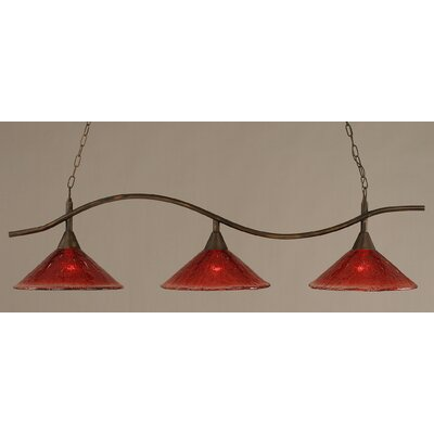 Swoop 3-Light Kitchen Island Pendant Finish: Bronze, Shade Color: Raspberry