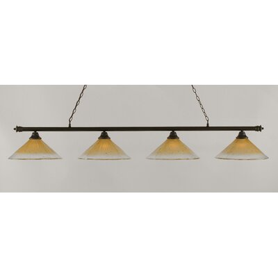 Oxford 4-Light Billiard Light Finish: Dark Granite, Shade Color: Amber
