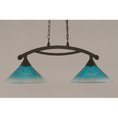 Bow 2-Light Kitchen Island Pendant Shade Color: Teal, Finish: Bronze