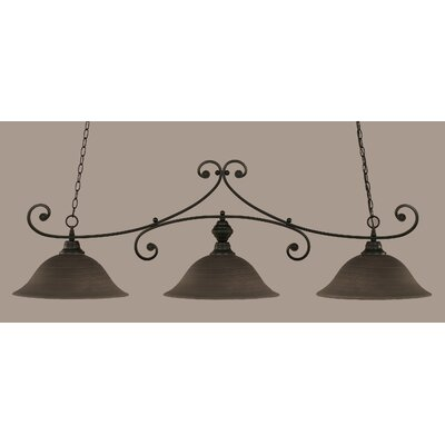 Babin 3-Light Billiard Light Finish: Matte Black, Shade Color: Gray