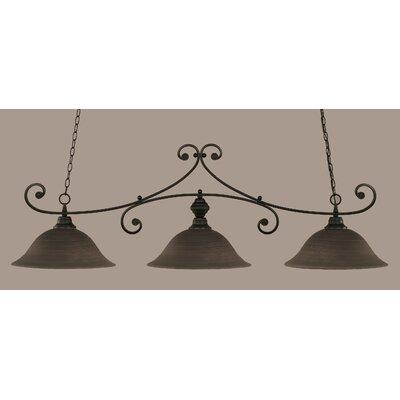 Babin 3-Light Billiard Light Color: Matte Black, Shade Color: Gray