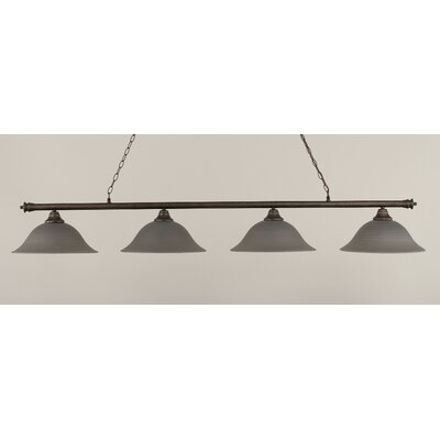 Passabe 4-Light Glass Shade Billiard Light Finish: Bronze, Shade Color: Gray