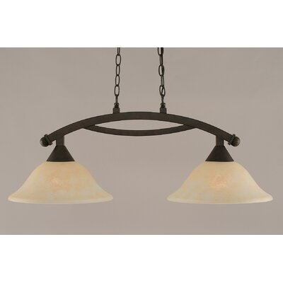 Blankenship 2-Light 100W Kitchen Island Pendant Color: Dark Granite, Shade Color: Amber