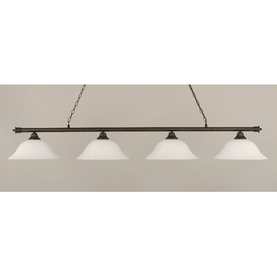 Oxford 4-Light Billiard Light Finish: Bronze, Shade Color: White