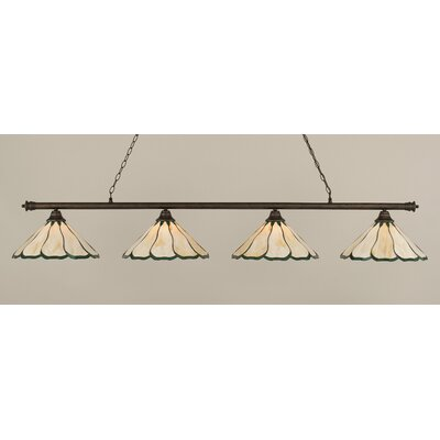 Oxford 4-Light Billiard Light Finish: Bronze, Shade Color: Honey and Hunter Green