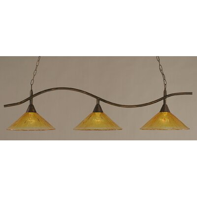 Swoop 3-Light Kitchen Island Pendant Finish: Bronze, Shade Color: Gold Champagne
