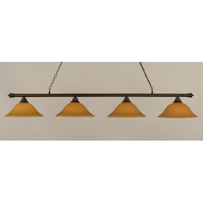 Passabe 4-Light Glass Shade Billiard Light Finish: Bronze, Shade Color: Cayenne