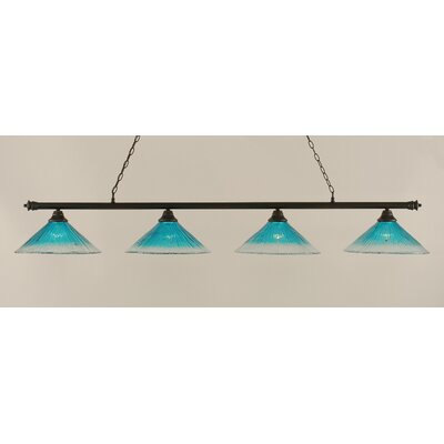 Oxford 4-Light Billiard Light Finish: Dark Granite, Shade Color: Teal